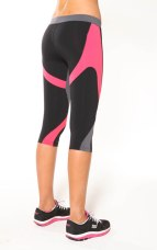 Pink 3/4 Lycra tights - 9% Supplex / 11% Spandex Zigzag 3/4 Compression Tight